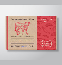 meat pattern realistic cardboard box container vector image