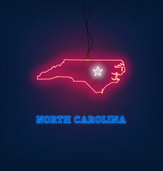 neon map state of north carolina on dark vector image