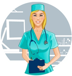 Nurse with stethoscope writes notes vector