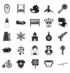 Nursery icons set simple style vector