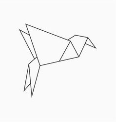 origami bird template for art of folded paper vector image