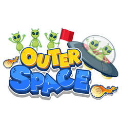 Outer space logo with many aliens vector