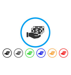 pay by cash rounded icon vector image