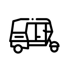 Public transport rickshaw thin line icon vector