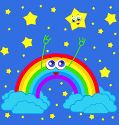 Rainbow and star in the sky vector