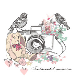 Romantic card with old camerabirds and flowers vector
