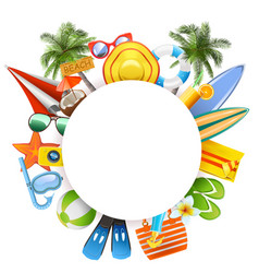 round blank frame with beach accessories vector image