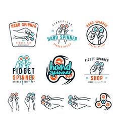 set hand spinner emblems vector image