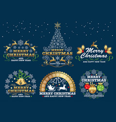 set of christmas emblem vector image