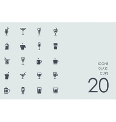 Set of glass cups icons vector