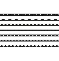 set of seamless borders design elements vector image