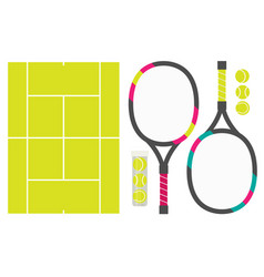 set of tennis rackets cord and tennis balls vector image