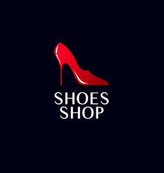 Shoes shop logo red female beautiful emblem vector