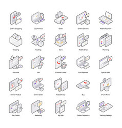 Shopping and delivery isometric icons pack vector