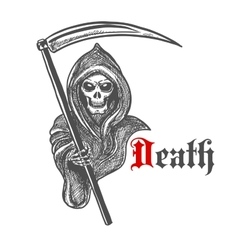 Spooky grim reaper with scythe sketch style vector