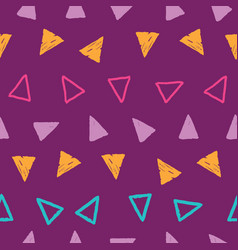 Stripes grunge triangles on repeat pattern vector