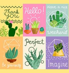 Succulent cards set vector