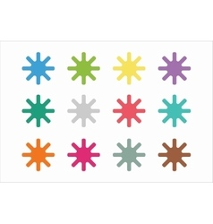 Sun burst star or snowflakes logo icon set vector image