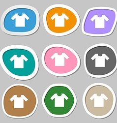 T-shirt icon symbols Multicolored paper stickers vector