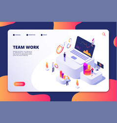 Team work concept people work with finance charts vector