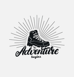 the adventure begins hand written lettering vector image