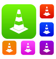 Traffic cone set collection vector