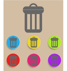 Trash can icon with color variations vector