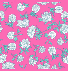 Vintage peony pattern vector