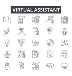 Virtual assistants line icons signs set vector