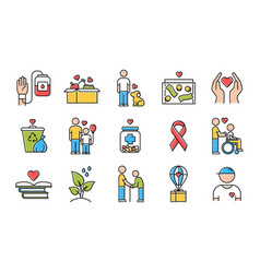 volunteering color icons set reliance vector image