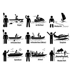 Water sea recreational vehicles and people set vector