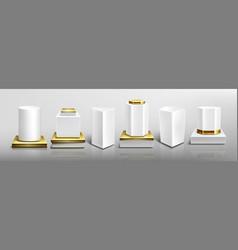 White pedestals or podiums with golden base set vector