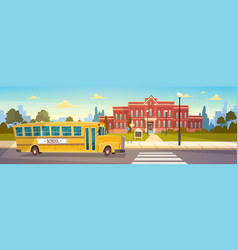 yellow bus in front of school building pupils vector image