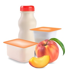 Yogurt and peach vector