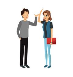 Young couple cartoon icon over vector