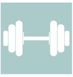Dumbbell the white color icon vector