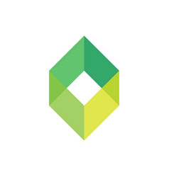 Green empty box logo template simple geometric vector