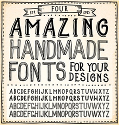 Handwriting Alphabets Hand Drawn Fonts vector image vector image