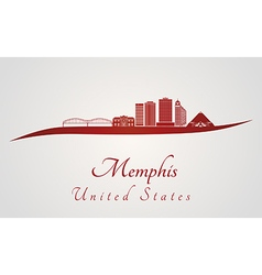 Memphis skyline in red vector image vector image