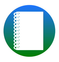 notebook simple sign white icon in bluish vector image