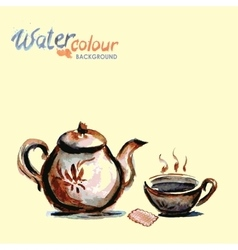 teapot and tea cup on white background watercolo vector image