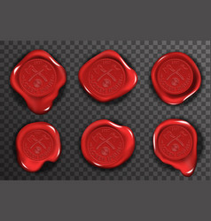 wax seal stamp red certificate sign transparent vector image vector image