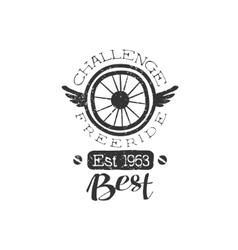 Freeride Vintage Label With Winged Wheel vector image