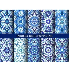 Indigo Blue Kaleidoscopic Patterns Set vector image
