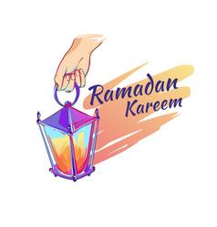 ramadan lantern hand drawn sketch vector image