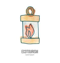 ecotourism doodle on watercolor texture vector image