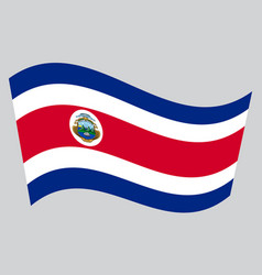 flag of costa rica waving on gray background vector image vector image
