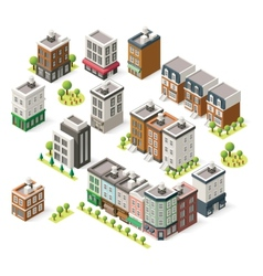 isometric city buildings set vector image vector image