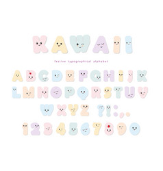 kawaii alphabet in pastel colors with funny vector image vector image
