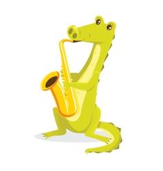Musical animals Crocodile Saxaphone vector image vector image